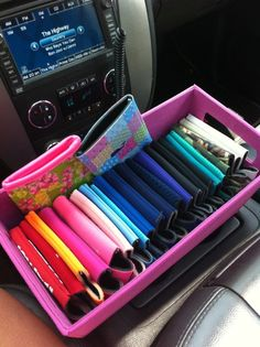 this seems like something i would do... color coordinated coozies in my car... and now i want to do it.