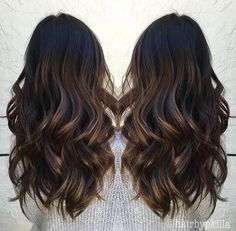 Fall Hair / Dark Hair / Highlights / Subtle Blonde / Long… This color is amazing! Curls For Long Hair, Curls Hair, Long Curled Hair, Dark Hair With Highlights, Hair Color And Cut, Hair Color Balayage, Ombre Hair, Brunette Hair, Long Brunette