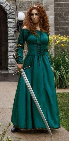Scottish Warrior Queen Renaissance Medieval Merida Dress Halloween Costume in Clothing, Shoes & Accessories, Costumes, Reenactment, Theater, Reenactment & Theater   eBay