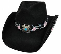 Dance In The Dark Cowboy Hat  Product Code: 0608BL  Bullhide: Dance In The Dark wool felt fitted cowboy hat done in black with flower hat band. Shapeable brim. By Montecarlo Hat Co.  $37.99