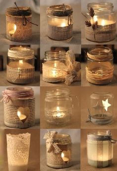 Rustic Christmas Mason Jar Ideas Here are different ways to decorate a simple mason jar candle holder. Use old music sheets, or book sheers, some twigs, ribbons and more. Diy Projects Using Mason Jars, Mason Jar Crafts, Mason Jar Diy, Bottle Crafts, Christmas Mason Jars, Christmas Candles, Christmas Diy, Christmas Decorations, Rustic Christmas