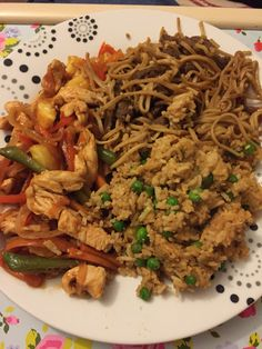 Homemade slimming world Chinese. Sweet & sour chicken, beef chow mein and egg fried rice