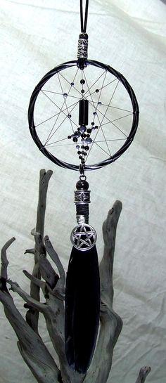 Goth Wicca Wandbehang Dreamcatcher Silber Pentagramm okkulten