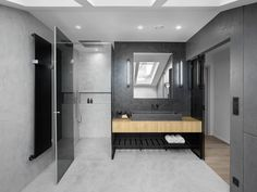 Modern industrial house located in Prague, Czech Republic, designed in 2017 by Oooox. Industrial House, Modern Industrial, Walk In Shower Designs, Cafe Design, Bathroom Inspiration, Bathroom Ideas, Home Interior, Arches, Decoration
