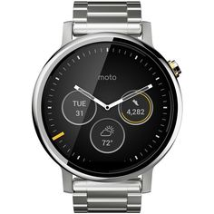 Motorola 'Moto 360 2nd Gen' Bracelet Smart Watch, 46mm ($400) ❤ liked on Polyvore featuring jewelry, watches, silver, stainless steel jewelry, analog wrist watch, stainless steel watches, stainless steel digital watches and rugged watches