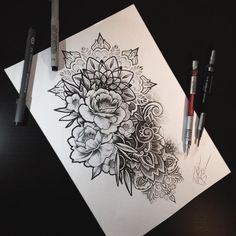 Image result for flowers and dove hip tattoo