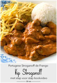 Stroganoff de Frango – Kip Stroganoff (met KOOK-Video) – De K van Koken Dutch Recipes, Meat Recipes, Chicken Recipes, Healthy Recipes, Beef Stroganof, Stroganoff Slow Cooker, Good Food, Yummy Food, Pub Food
