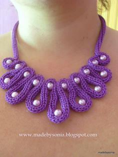 made by sónia - #icord #necklace #tricotin  -would use a glam yarn with silk in it for shine