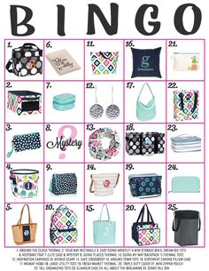 Thirty-One Bingo card for online parties #ilovemybaglady