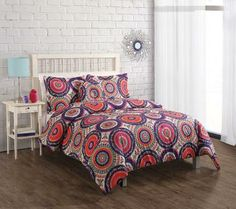 bohemian bedding, medallian bedding, orange and purple bedding, boho bedding