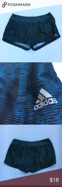 Adidas Workout Shorts Teal/Blue shorts with black designs on them. Never worn and would be a super cute addition to any athletic wardrobe collection you have! adidas Shorts