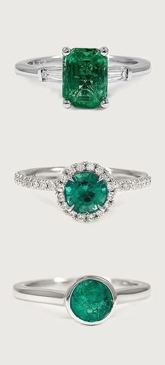 Love the unique feel of these gorgeous rings featuring emerald center stones.