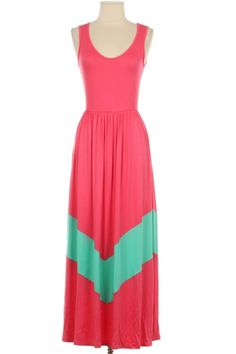 Coral/Mint Maxi Dress - New Clearance Items Added Weekly - #blondellamydean #plussizefashion #plussize #curves