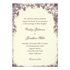 Rustic Vineyard Wedding Invitation – Blending together the beauty of a country vineyard with a modern, artistic twist, this gorgeous Rustic Vineyard wedding collection is full of charm and elegance. This wedding invitation is fully customized to make it perfect for you! OR