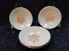 Homer Laughlin Golden Wheat Berry Fruit Dessert Bowls FOUR Bowls EXCELLENT! #HomerLaughlin