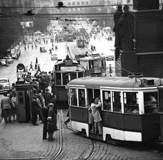 """Trams on Václavské náměstí"" (Wenceslas Square) Photo: Jovan Dezort (Born: Czechoslovakia 1934 - ) Czechoslovakia - Praha (Prague), 1960s / Now Czech Republic Smiley smile Jovan Dezort is a Czech photographer. He is focusing particularly on reportage and portraits."