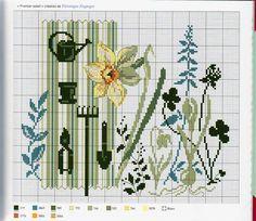 """""""Premier Soleil"""" by Veronique Enginger from 'Agenda 2010: Fleurs et jardins au point de croix' /Mango Pratique/"""