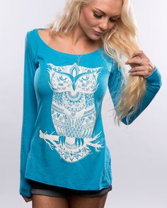 Blue Owl Long-Sleeve! #Zentangle #Owl #Insomniac