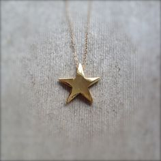 Minimalist Gold Star Necklace w/ Vintage Pendant and Dainty 14k Gold Filled Chain by MuffyandTrudy on Etsy