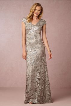 Silver lace mother of the bride gown Veda from BHLDN @BHLDN