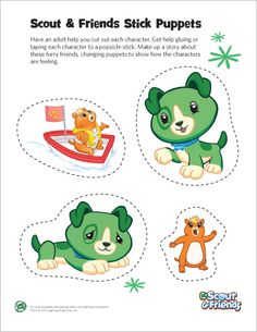 LeapFrog Scout & Friends Stick Puppets- Print Scout & Friends stick puppets and learn about feelings and emotions through pretend play.