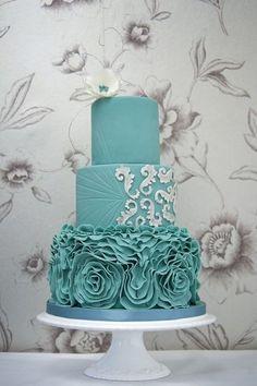 Teal Vera Wang ruffle wedding cake