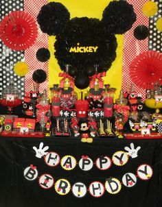 Mickey Mouse candy buffet, Mickey party, Mickey banner
