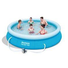 Self-supporting swimming pool + pump - PVC - Ø 366 x H 76 cm - Blue