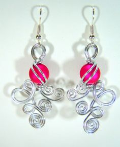Double Loop De Loop with Fushia Bead by melissawoods on Etsy, $20.00