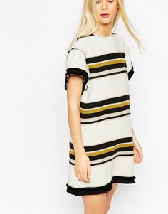 Image 3 of ASOS Shift Dress with Raw Edge in Horizontal Stripe