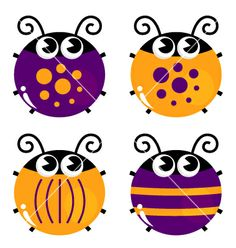 Illustration of Cute little funny bugs set - orange and purple vector art, clipart and stock vectors. Orange And Purple, Green And Brown, Fresh Green, Yellow Ladybug, Blank Business Cards, A Bug's Life, Vector Photo, Clipart, Beetle