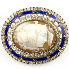 Early Victorian Paste and Enamel and Gold Finely Carved Shell Cameo Pin