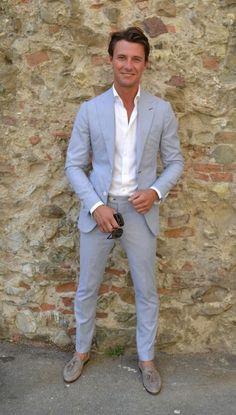 light blue seersucker suit, grey tassel loafers