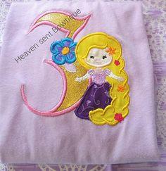 Birthday Princess Rapunzel inspired appliqued shirt. Custom Embroidered shirt, Applique sh... $24.99