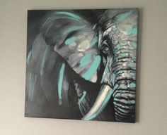 Just painted a grey, white and Tiffany blue elephant for his nursery!