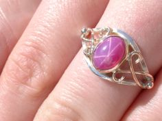 Sterling/9kt Pink Gold Lindy Star Ruby Ladies Ring