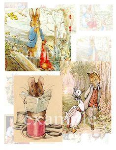 Beatrix Potter Characters...Illustrations...Digital Collage Sheet