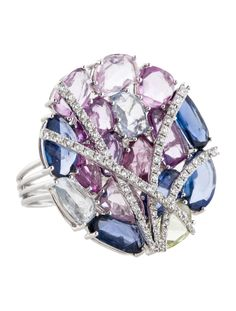 18K white gold multicolor faceted sapphire slice circle ring with pavé diamond accents.