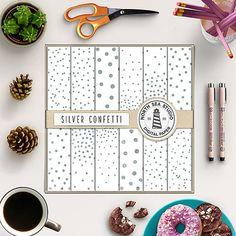 Silver Confetti Digital Paper -  http://etsy.me/2aT6sX0 12 silver confetti digital papers with silver foil and glitter dots pattern.
