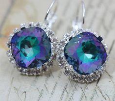 Blue Purple Bridal Earrings Something Blue Fairytale Crystal Earrings Peacock Bridal Earrings Bridesmaids Earrings Silver Wedding on Etsy, $32.00