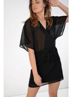 Black chiffon kimono dress