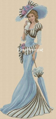 Cross stitch chart Elegant Lady 156I full length Flowerpower37-uk | eBay