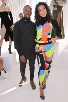 NEW YORK, NY - FEBRUARY 14: Fashion designer LaQuan Smith (L) and Entertainment Reporter at Fox5, Simone Boyce pose during SheaMoisture at Laquan Smith F/W 2016 NYFW at Jack Studios on February 14, 2016 in New York City. (Photo by Bennett Raglin/Getty Images for SheaMoisture)