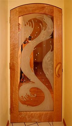 Etched Glass Doorway - I just don't want to be so exposed.....maybe use for an interior door!