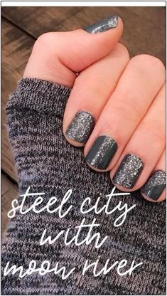 Beautiful Steel City with one of my favs, Moon River! 💖 Get the perfect mani with Color Street💅.you never have to clean up your cuticles when using darker colors again! 😍 Easy, mess free, no drying time! Save time AND money with Color Street! Love Nails, How To Do Nails, Pretty Nails, Sassy Nails, Shellac Nails, Diy Nails, Nail Polish, Acrylic Nails, Winter Nail Designs