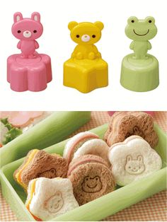 This cookie sandwich stamp cutters molds makers are set of a food cutter making enjoyable bento lunch every day. These food cutters are made by Torune (bento accessories company in Japan) With rabbit, bear and frog designs, there are cute shapes of star, circle and flower to stamp. Instructions with illustrations are on the back of this package. Please use them for molding cute shaped vegetables, sandwiches and cookies. 3 in package (bear, frog and rabbit)