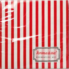 Krima & Isa Papierservietten rot gestreift 33 x 33 cm