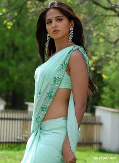 pale green saree.  model:  Anushka Shetty