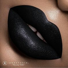"""""""Midnight"""" Liquid Lipstick by Anastasia of Beverly Hills Bold Lips, Glossy Lips, Pink Lips, Black Lipstick, Lipstick Colors, Lip Colors, Liquid Lipstick, Eyes Lips Face, Lip Swatches"""
