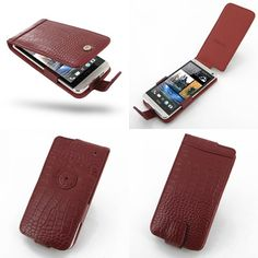PDair Leather Case for The New HTC One 801e 801s - Flip Type (Red/Crocodile Pattern)